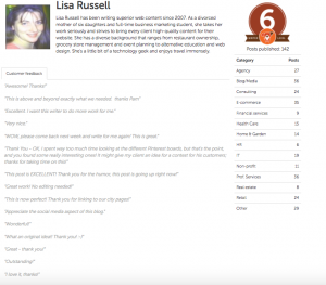 blogmutt clients use writer profiles to decide which authors they want for special assignments